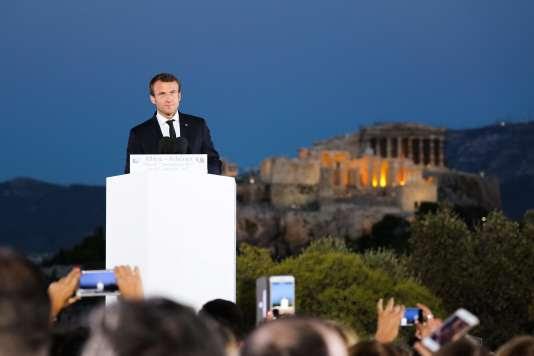 Le président français vient d'achever son discours, face à l'Acropole, à Athènes, le 7 septembre.