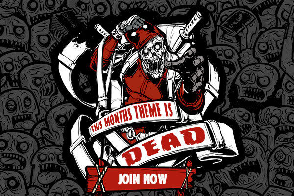 Grab your gear and load up on chimichangas -- the DEAD (crate) arrives this February! Every month, Loot Crate brings you a box full of geeky goodness for less than $20 and this month we're celebrating the release of the Deadpool feature film and the return of The Walking Dead with five EXCLUSIVE items including a T-Shirt, figures and more!