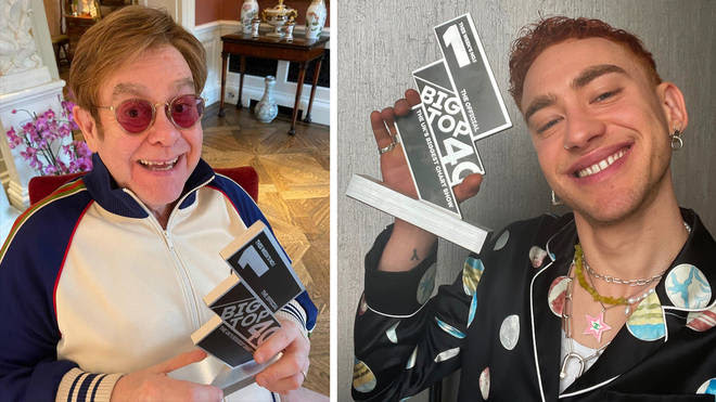 Sir Elton John and Olly Alexander posing with their Official Big Top 40 Number 1 trophies