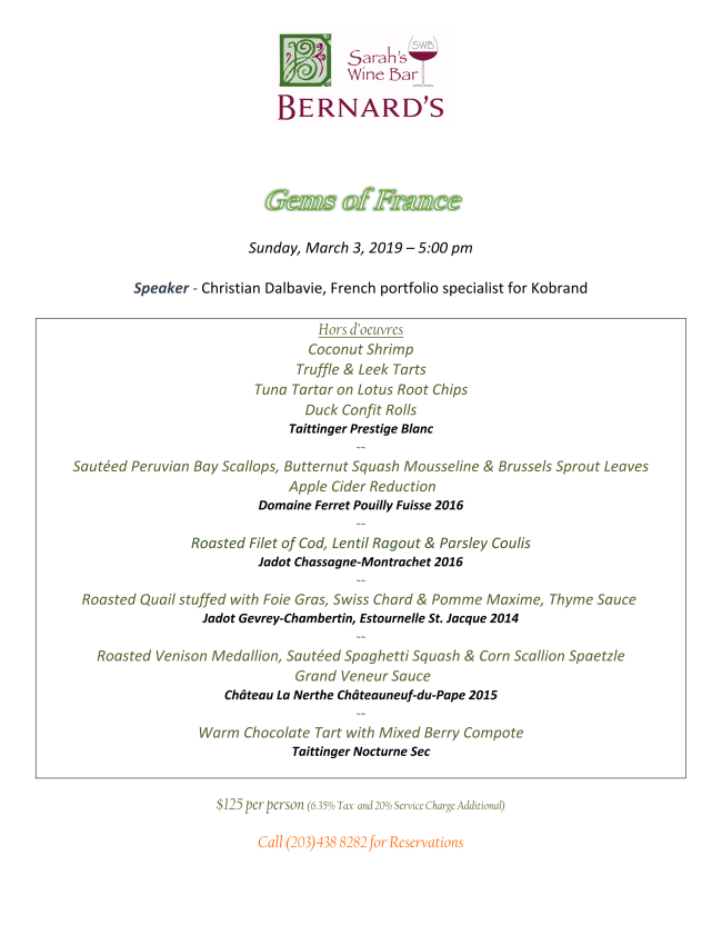 Gems of France wine dinner with Bernards 3-3-19