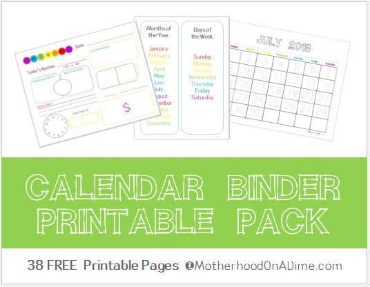 Free 2017-2018 Calendar Binder