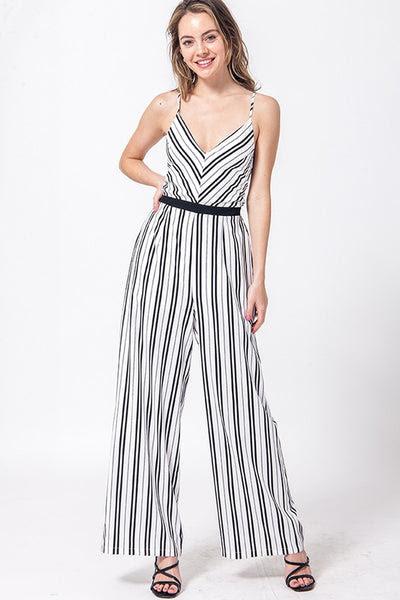 open back stripe v neck jumpsuit with cross back straps