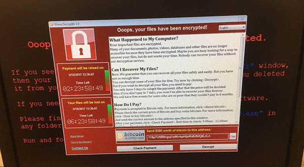 WannaCry Ransomware Screenshot