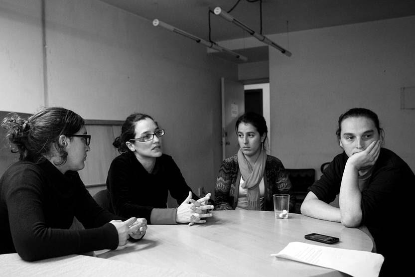 Lucía Elizalde, Mariana Menéndez, María Noel Sosa y Diego Castro, editores de la revista Contrapunto. / Foto: Pedro Rincón