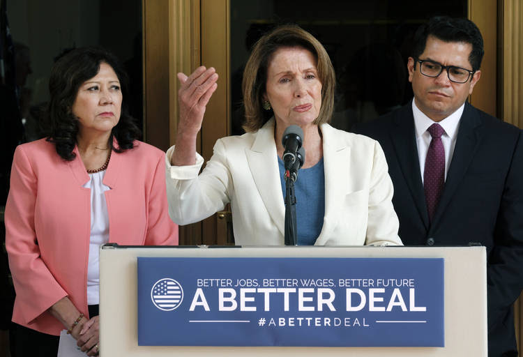 Nancy Pelosi appears at a news conference at Union Station in Los Angeles. (Richard Vogel/AP)