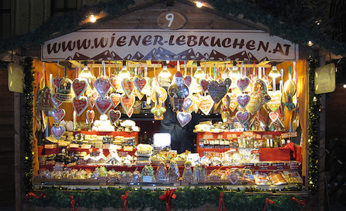 lebkuchen house at the famous Wiener Christmas market Vienna, Austria