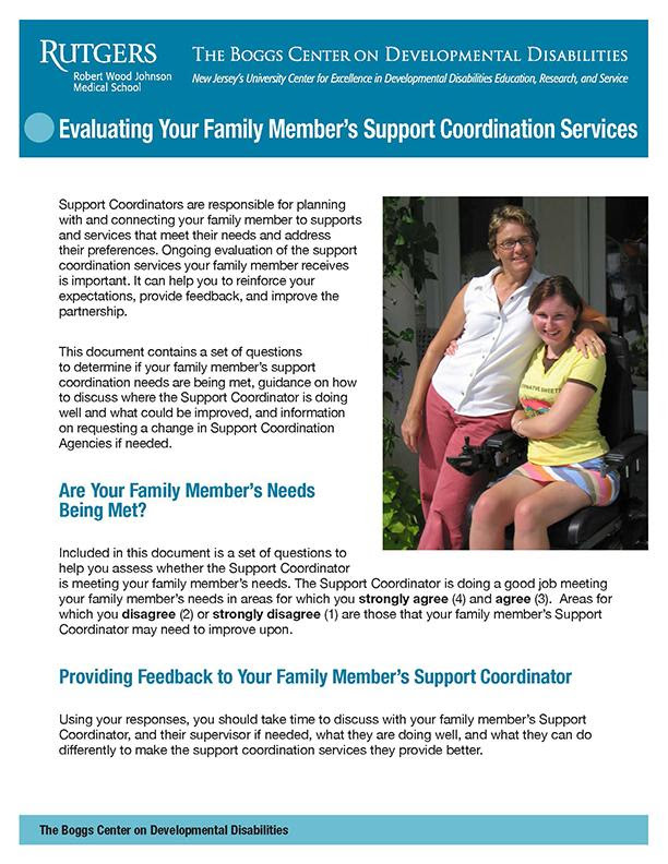 Evaluating Your Family Member_s Support Coordination Services cover
