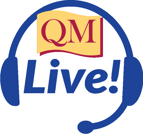 Headset with the words QM Live