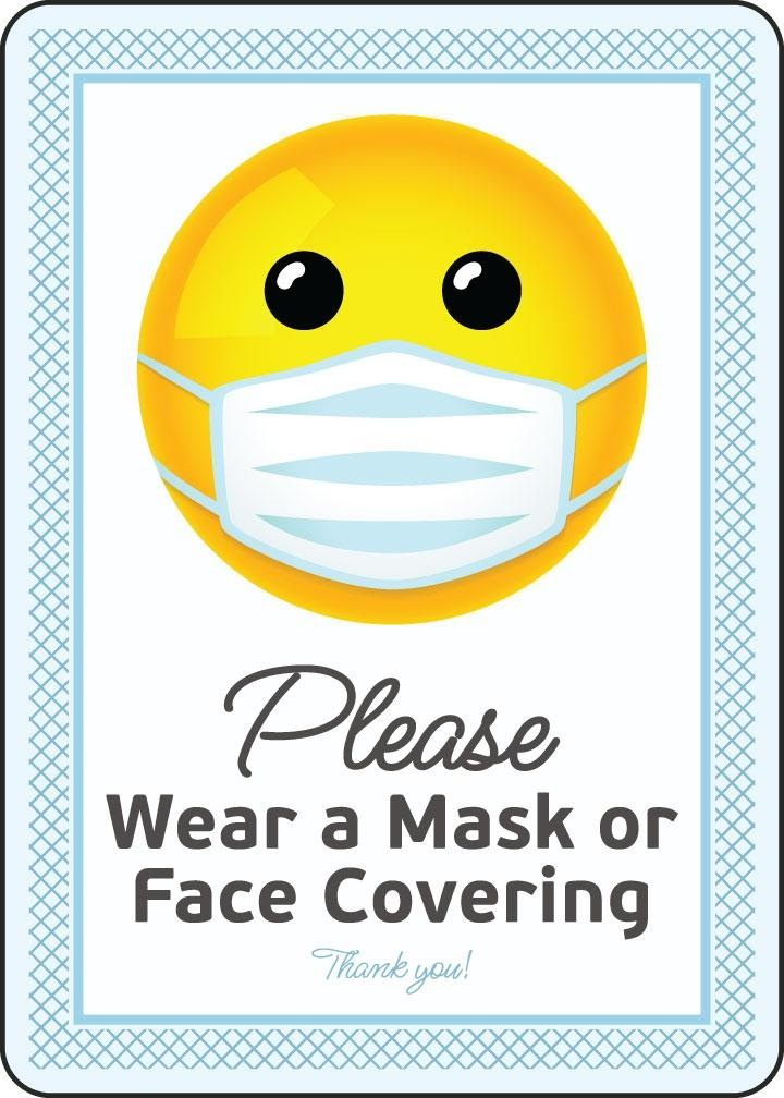 Please Wear a Mask or Face Covering Sign — D6162 by SafetySign.com