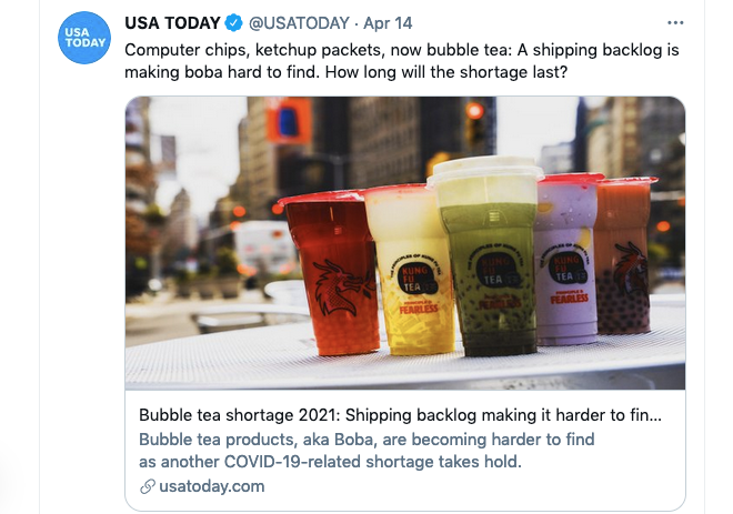 A screen grab of a tweet from USA Today