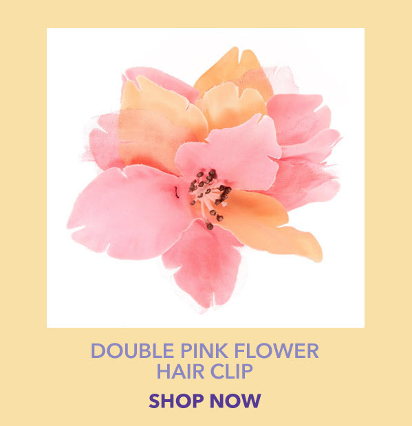 Double Pink Flower Hair Clip