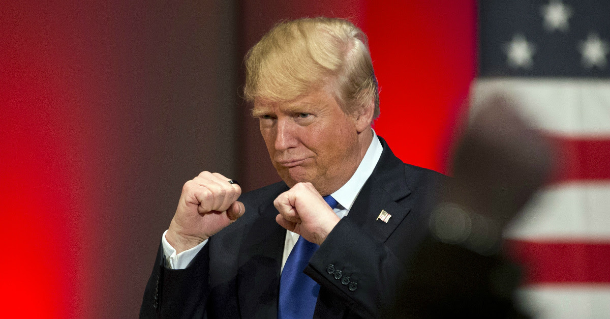 A picture of Trump, looking like he's ready to spar.