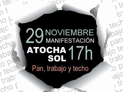 Cartel de la manifestación convocada por Las Marchas de la Dignidad en Madrid el día 29 de noviembre