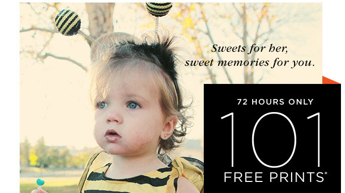 SWEETS FOR HER, SWEET MEMORIES FROM YOU. 72 HOURS ONLY 101 FREE PRINTS*