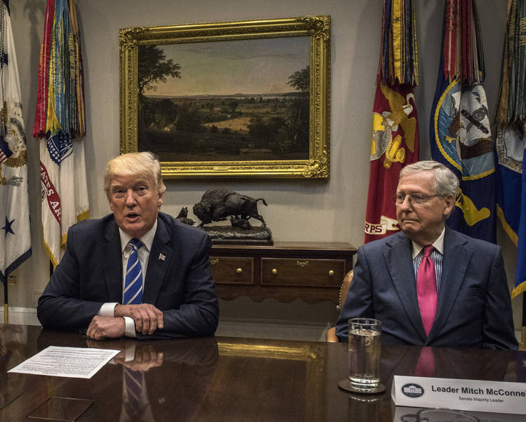 Donald Trump meets with Hill leadership, including Mitch McConnell, to discuss tax reform. (Bill O'Leary/The Washington Post)