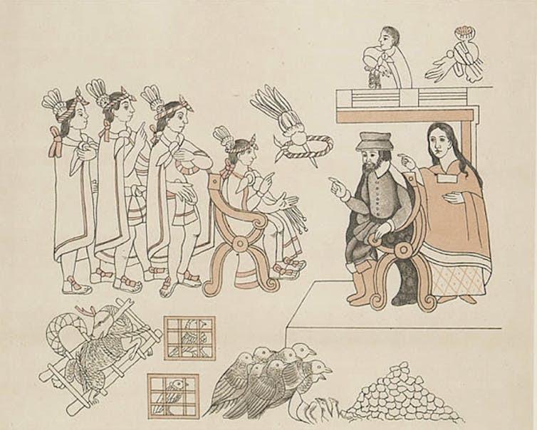 Four Aztec men, a Spanish man, and an Aztec woman.