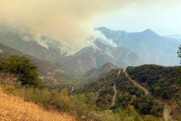 Humo se desprende del parque nacional de sequoias.Foto AP