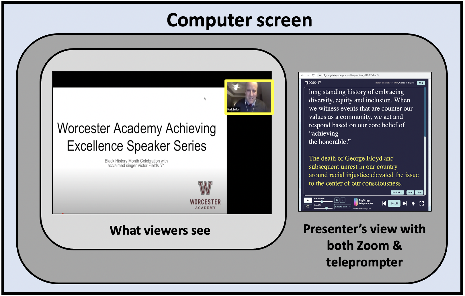 The BigStage Teleprompter runs in its own browser window which can be placed next to the Zoom window.