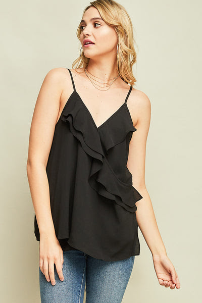 ruffle front cami top