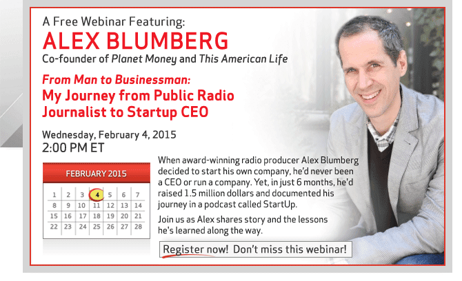 Register now for this Free Webinar with Alex Blumberg