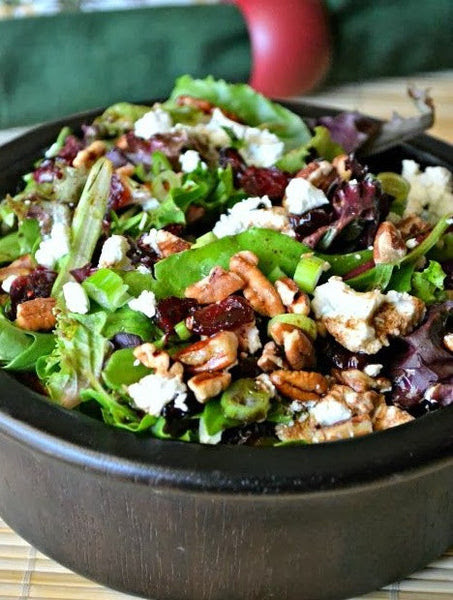 Shredded Chicken, Toasted Pecans, Feta Cheese over Mixed Greens with a Honey Mustard Vinaigrette