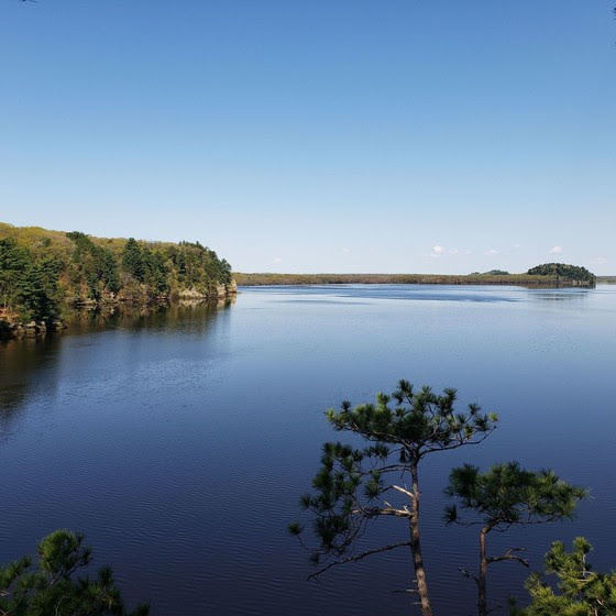 A scenic view of the Wisconsin River from the Dells of the Wisconsin River State Natural Area.