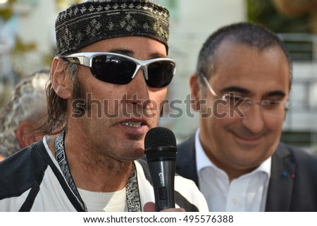 Marseille, France - October 06, 2016 : French cartoonist Faty Bourayou at the 5th edition of the International festival of press and political cartoons at l'Estaque.