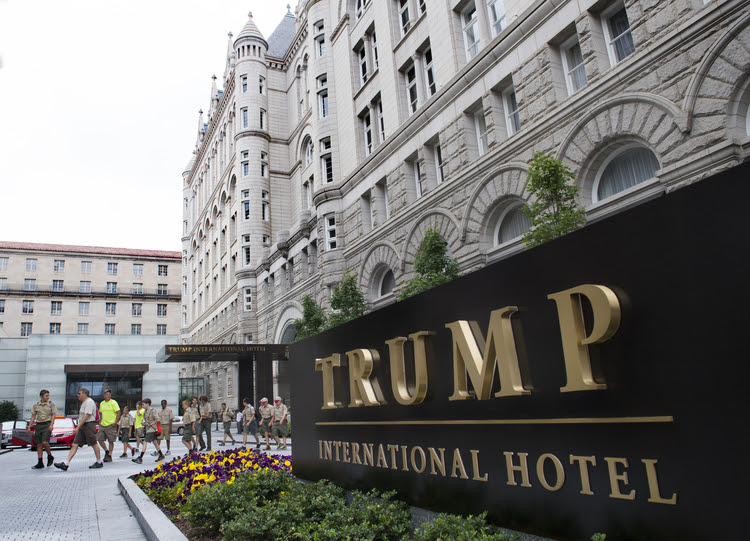 The valet entrance to the Trump International Hotel is shown. (Linda Davidson/The Washington Post)</p>