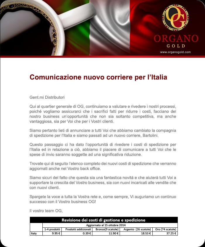 Comunicazione nuovo corriere per l'Italia