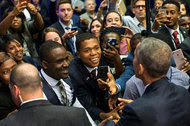 Audience members greeted President Obama after he spoke at the White House Summit on Global Development on Wednesday.