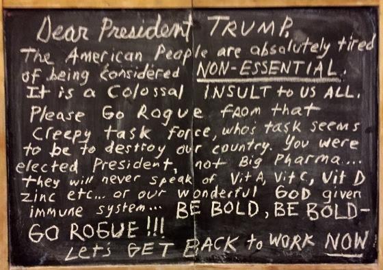 chalk message to trump