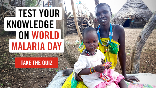 An image of a woman and a child with the text: 'Test your knowledge on World Malaria Day. Take the Quiz'
