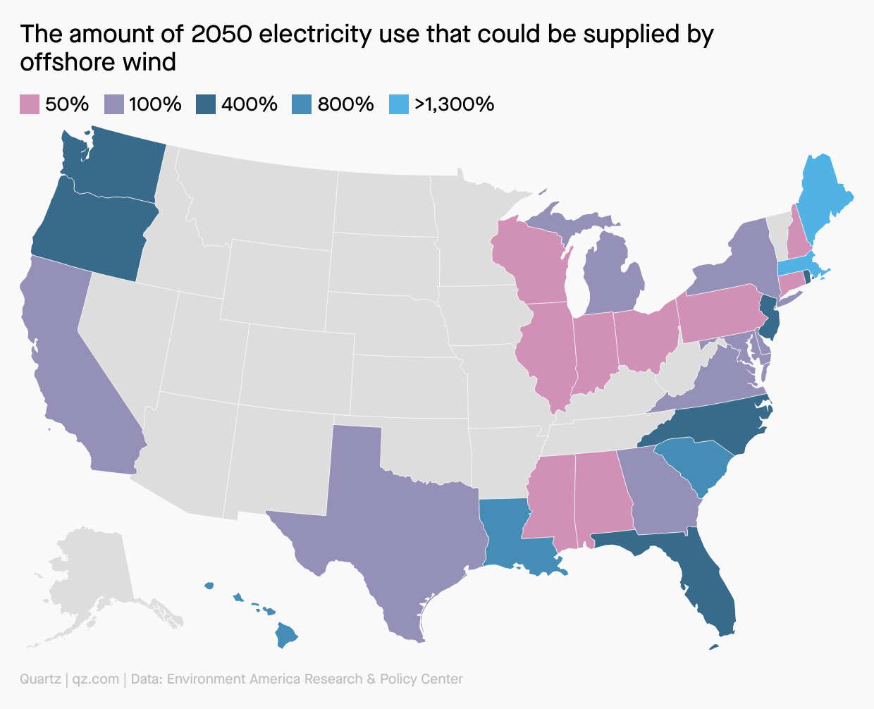 A map of the amount of 2050 electricity use that could be supplied by offshore wind, with more than 1,300% in Maine and Massachusetts.