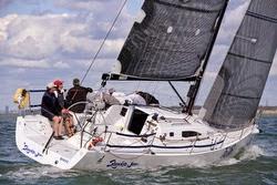 J/111 sailing upwind at Worlds