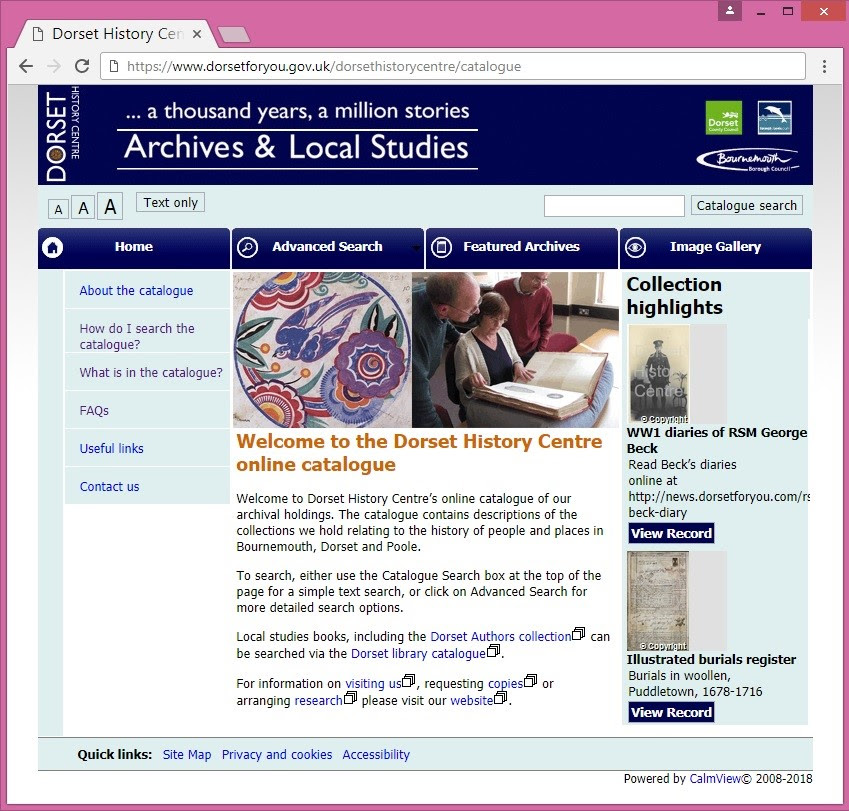 Dorset History Centre online catalogue