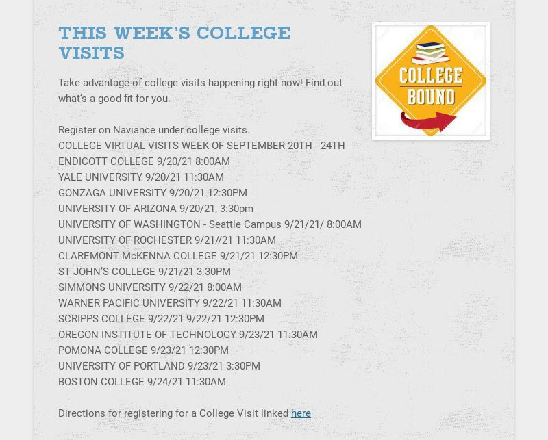 THIS WEEK'S COLLEGE VISITS Take advantage of college visits happening right now! Find out what's...