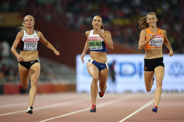 Brianne Theisen-Eaton, Jessica Ennis-Hill and Nadine Visser in the heptathlon 200m at the IAAF World Championships, Beijing 2015 (Getty Images)