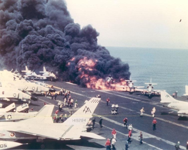 File:USS Forrestal A-4 Skyhawk burning.png