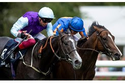 Royal Lytham (inside) battles to the finish line in the July Stakes at Newmarket