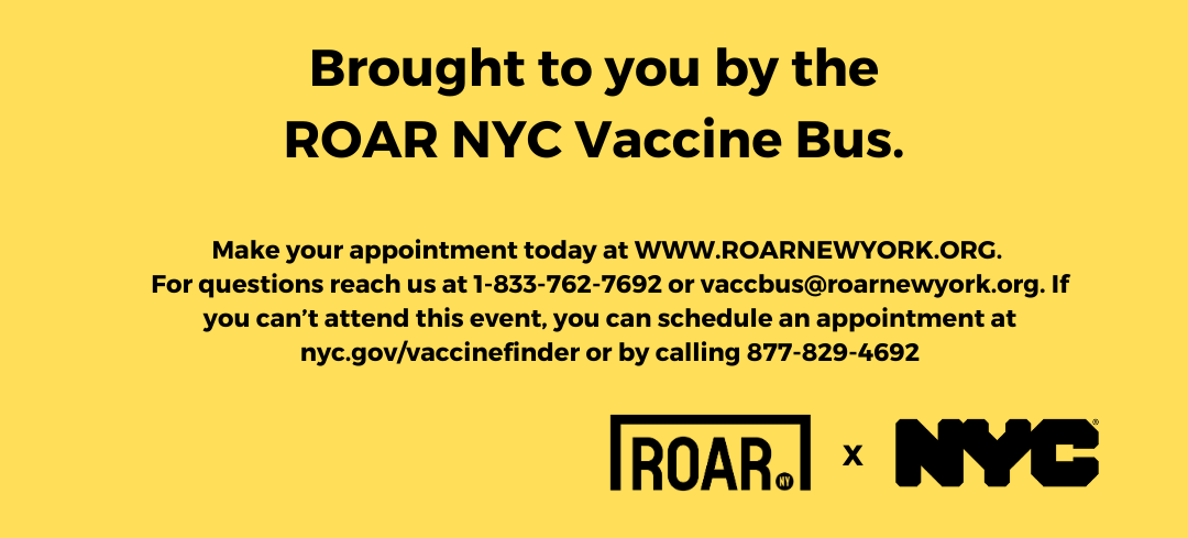 Yellow social media post with black text about the ROAR NYC vaccine bus. More info at roarnewyork.org
