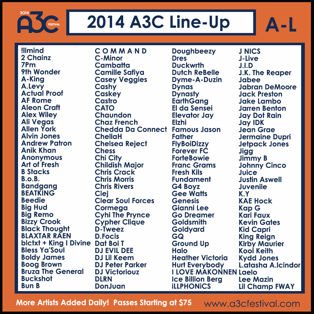 A3CLineUpA-L 2014 A3C Festival Full Line-Up Unveiled
