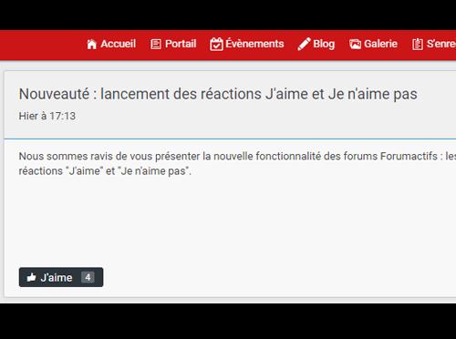 """Nouvelles fonctionnalités du forum : système de Likes avec les réactions """"J'aime"""" et """"Je n'aime pas"""" Like210"""