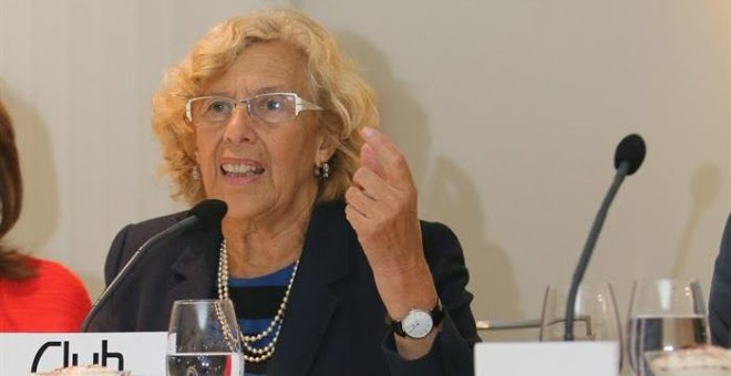Manuela Carmena, alcaldesa de Madrid, en el almuerzo de este miércoles. EFE