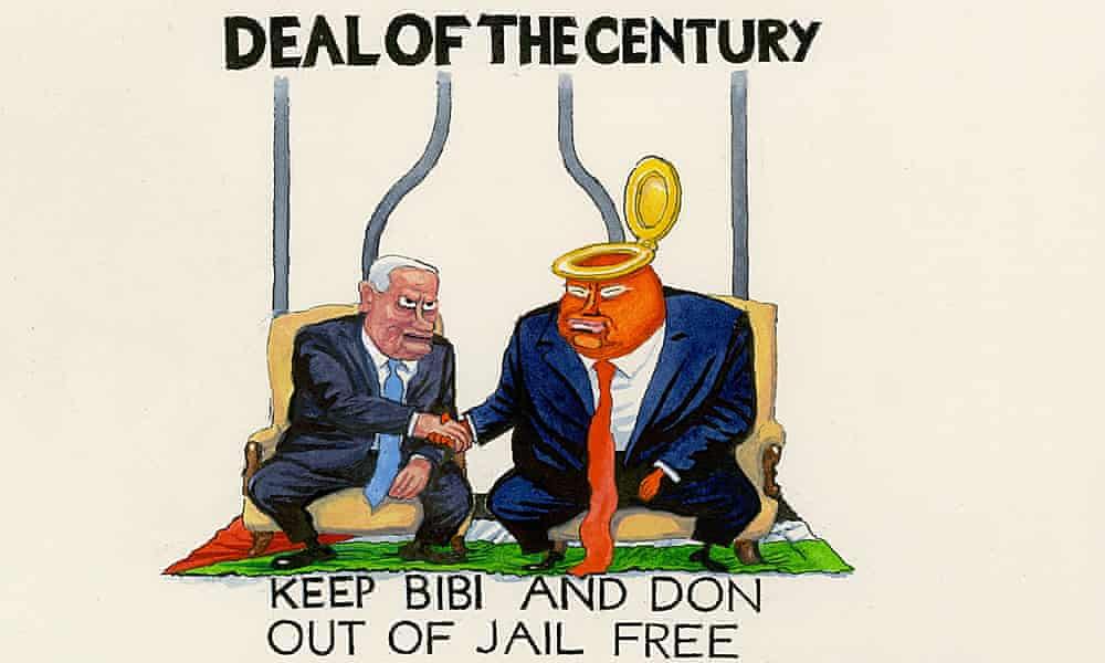 Steve Bell on Donald Trump's Middle East peace deal – cartoon