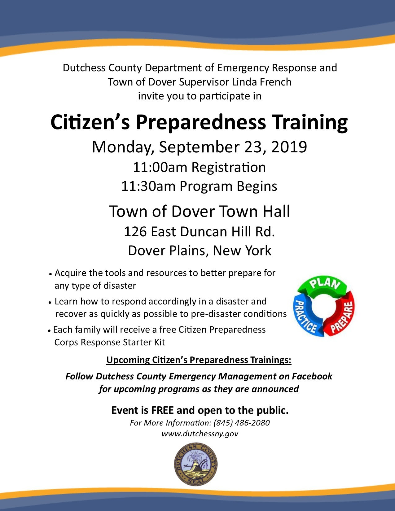 The next Citizen's Preparedness Training will be Sept. 23rd in the Town of Dover