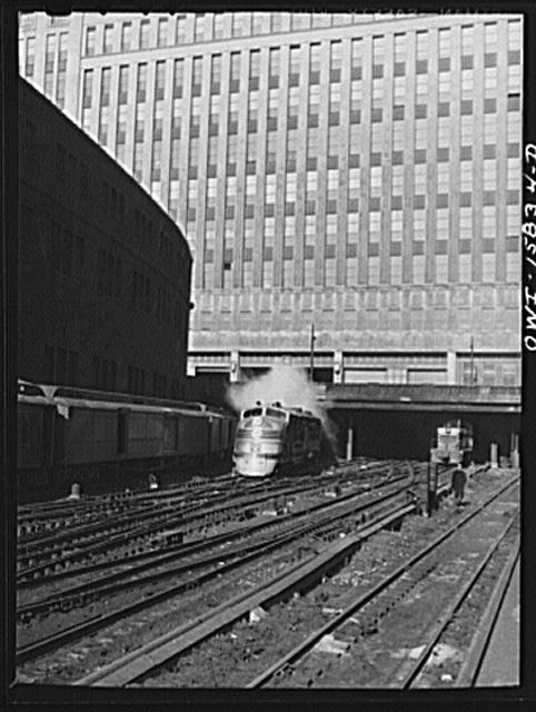 Chicago, Illinois. Chicago Burlington and Quincy streamliner pulling out of the Union Station