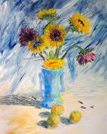 Sunflowers in Blue Vase  by Blake Zoephel  at Studio 7 Fine Art Gallery