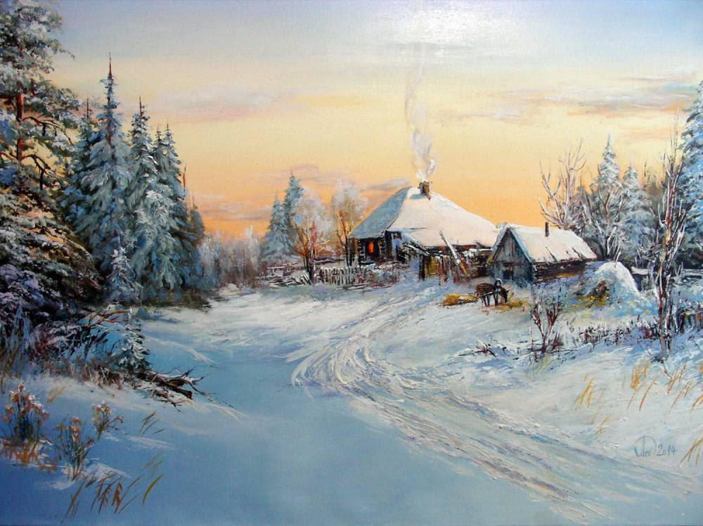 Леднев Александр Алексеевич . Зимовье..jpg