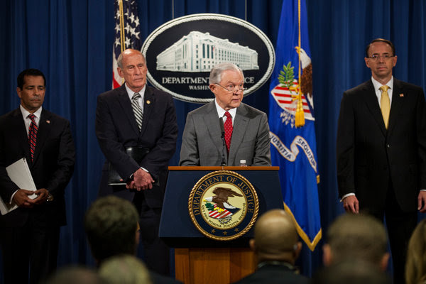 Attorney General Jeff Sessions during a news conference at the Justice Department this month.