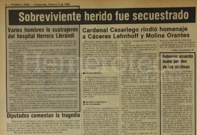 Publicación del diario Prensa Libre, sobre el secuestro del campesino Gregorio Yujá.